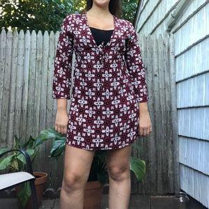 Boho Chic Retro Maroon long sleeve Dress